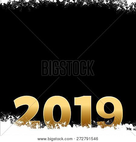 New Year 2019 In Golden Numbers Over Black Background With Snow