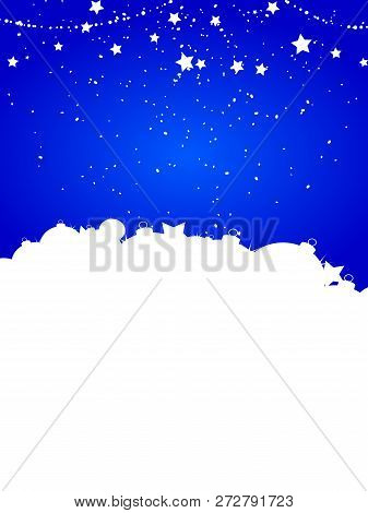 Festive Winter Christmas Blue Portrait Background With Baubles Star And Snow