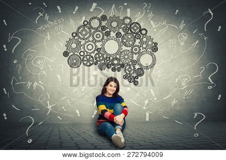 Pretty Casual Woman Sitting On The Floor And A Huge Gear Brain Above Her Head, Positive Thinking, Qu