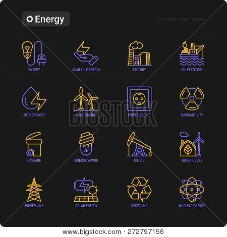 Energy Thin Line Icon: Factory, Oil Platform, Hydropower, Wind Energy, Power Socket, Radioactivity,