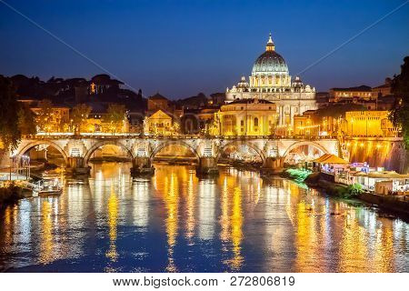Night View Of St. Peter Basilica In Rome, Italy. Rome Architecture And Landmark.