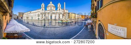 Aerial View Of Navona Square, Piazza Navona, In Rome, Italy.