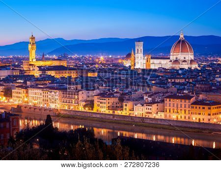 Panorama Of Florence With Its Landmarks, Saint Mary Of The Flowe