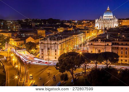 Night View Of Saint Peter In Rome, Italy. Rome Architecture And
