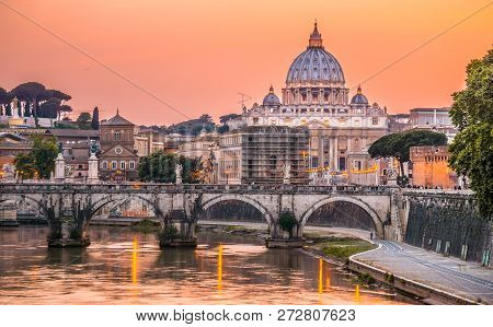 Night View Of St. Peter Basilica In Rome, Italy. Rome Architectu