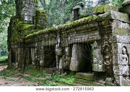 An Old Moss Covered Ruin In A Tropical Asian Jungle