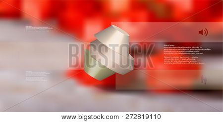 3d Illustration Infographic Template. The Round Octagon Is Divided To Three Color Parts. Object Is A