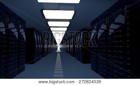 Server Racks In Server Room Cloud Data Center. Datacenter Hardware Cluster. 3d Render. Backup, Hosti