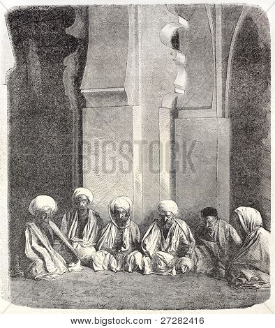 Imams in the Great Mosquee of Algers. Created by Janet-Lange, published on L'Illustration, Journal Universel, Paris, 1858