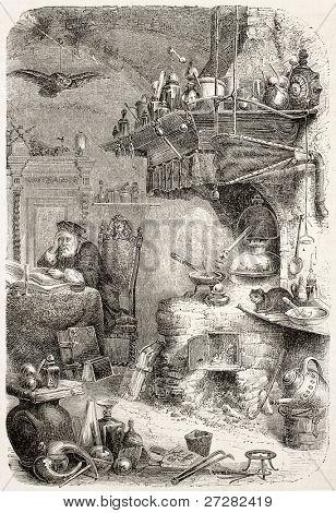 Alchemist laboratory old illustration. By unidentified author, published on L'Illustration, Journal Universel, Paris, 1858