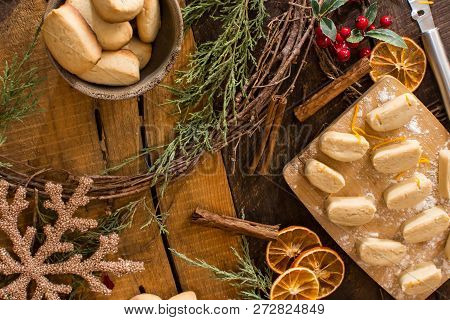 Merry Christmas Cozy Christmas Background Holiday Greeting Card And Christmas Cozy Home Baking Cooki