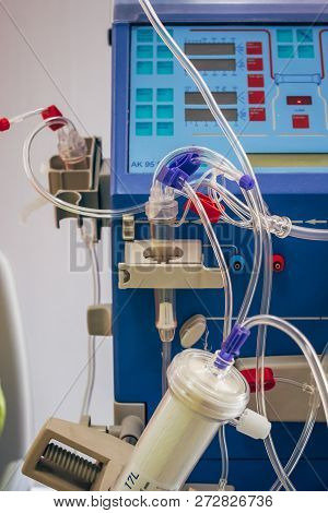 Hemodialysis Machine In A Modern Dialysis Center