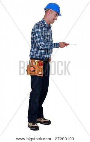 Man using screwdriver