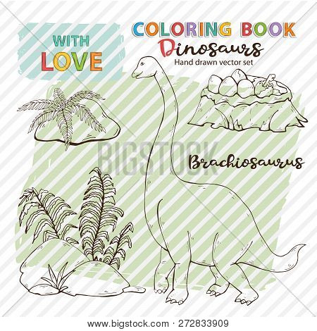 Vector Coloring Page Antistress Brachiosaurus And Dinosaur Eggs With Plant, Stones.jurassic Wildlife