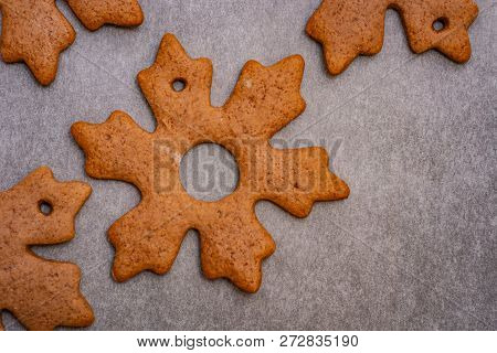 Gingerbread Cookies In The Shape Of Stars And Leaves Ready To Hang On A Christmas Tree As Part Of Pr