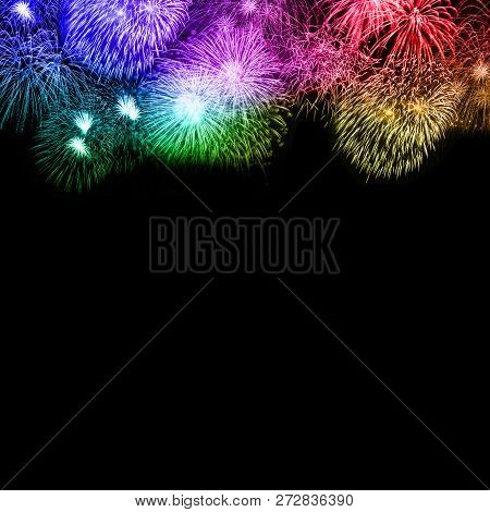 New Year's Eve Fireworks Background Copyspace Copy Space Square Colorful Years Year Firework