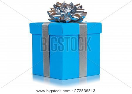 Gift Present Christmas Birthday Wedding Wish Blue Box Isolated On White