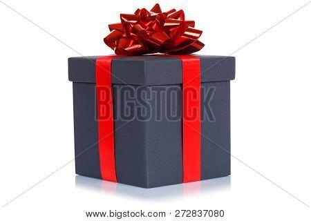 Gift Present Christmas Birthday Wedding Wish Black Box Isolated On White