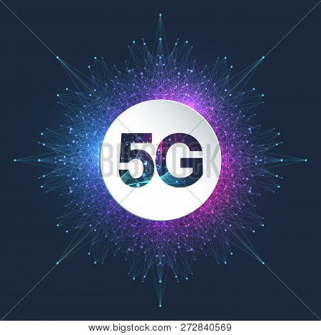 5g Network Wireless System And Internet Connection Background. 5g Symbol Communication Network. Busi