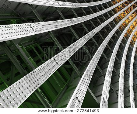 Curved Metal Girders Supporting A Railway Bridge