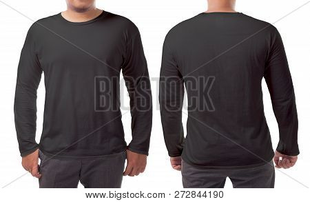 Black Long Sleeved T-shirt Mock Up, Front And Back View, Isolated. Male Model Wear Plain Black Shirt