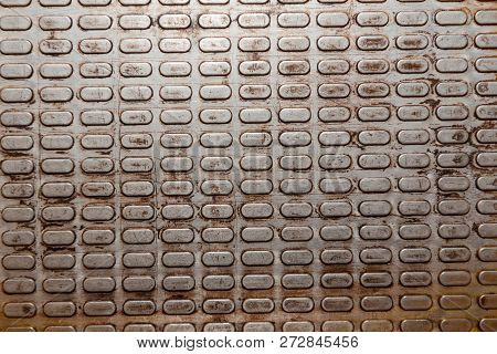 Metallic Background. The Texture Of The Metal. Metal Squares. Corrugated Metal. Old Metal.