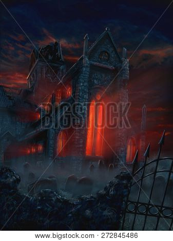 Digital Fantasy Painting Or Illustration Of Terrifying And Mysterious Church And Graveyard. Red Evil