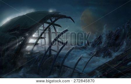Concept Art Digital Fantasy Dreamlike Painting Or Illustration Of Space Ship Wreck Abandoned On Alie