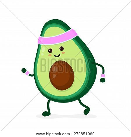Cute Smiling Happy Strong Avocado Running.vector Flat Cartoon Character Illustration Icon. Isolated