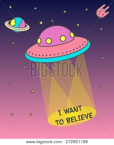 Ufo Poster That Produces Light Beams. Flying Ufo Across The Sky At Sunset On The Background Of An As