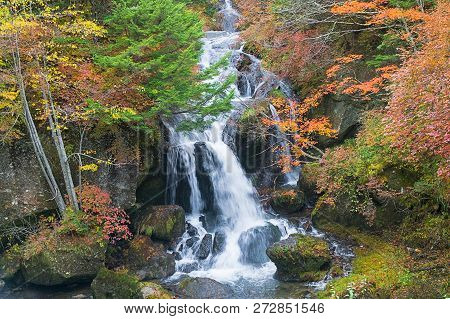 Ryuzu Waterfall In Autumn, Nikko, Japan
