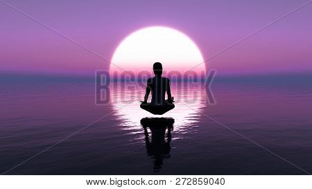 Illustration Of A Young Woman Sitting In Deep Meditation.yoga Meditation By Woman On The Ocean At Su