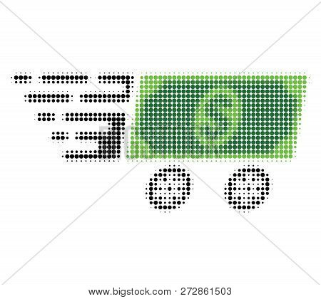 Dollar Banknote Wagon Halftone Dotted Icon With Fast Speed Effect. Vector Illustration Of Dollar Ban