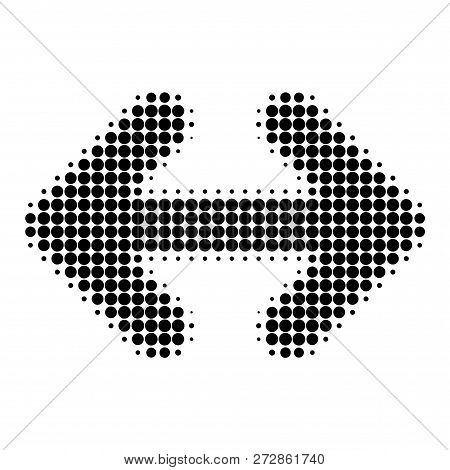 Exchange Arrows Horizontally Halftone Dotted Icon. Halftone Pattern Contains Round Points. Vector Il