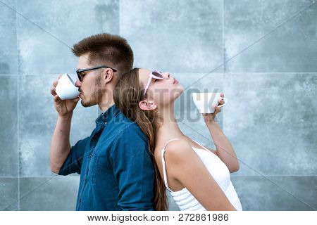 You Can Do Coffee Date Any Time. Girlfriend And Boyfriend Have Espresso Or Latter Drink. Couple In L