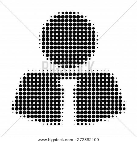Mister Halftone Dotted Icon. Halftone Pattern Contains Round Points. Vector Illustration Of Mister I