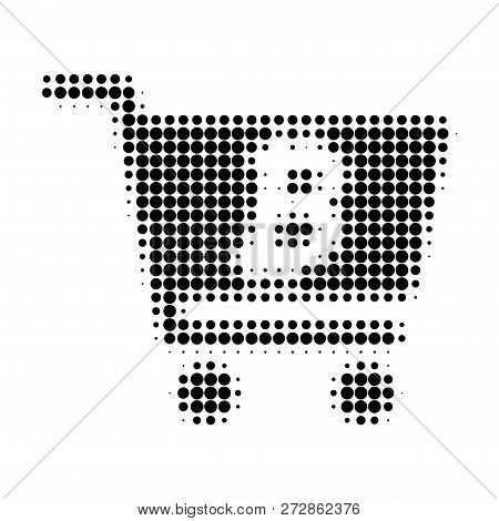 Bitcoin Webshop Halftone Dotted Icon. Halftone Pattern Contains Circle Dots. Vector Illustration Of