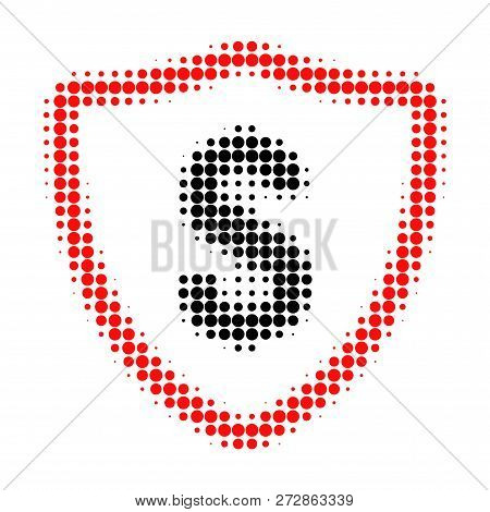Dollar Protection Halftone Dotted Icon. Halftone Pattern Contains Circle Points. Vector Illustration
