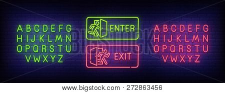 Enter Neon Sign, Exit Neon Sign. Bright Signboard, Light Banner. Neon Text Edit. Design Template. Ve