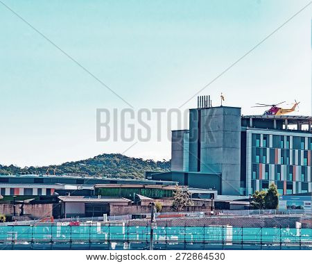 Gosford, New South Wales, Australia - September 9, 2018: Helicopter Landing On New Helipad At Gosfor
