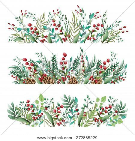 Floral Ornament Of Flowers Of Beautiful Shades. Pattern From Leaves Of Different Plants And Berries