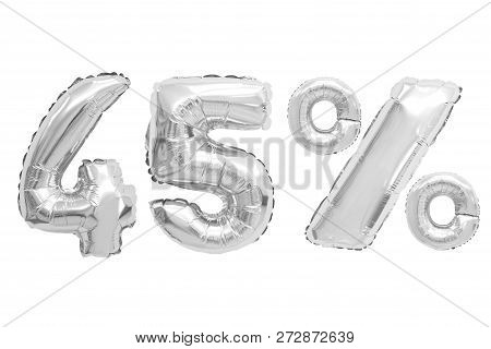 Forty Five Percent From Chrome Color Balloons On Isolated Background. Discounts And Sales