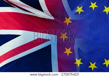 Brexit Concept Image Of London Image And Uk And Eu Flags Overlaid Symbolising Agreement And Deal Bei