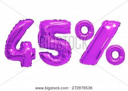 Forty Five Percent From Purple Color Balloons On Isolated Background. Discounts And Sales
