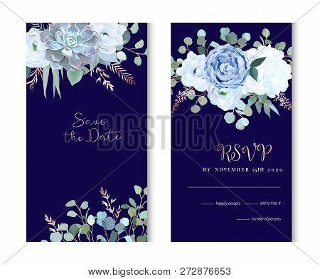 Dusty Blue Rose, Echeveria Succulent, Hydrangea, Ranunculus, Anemone, Eucalyptus, Juniper, Brunia Ve