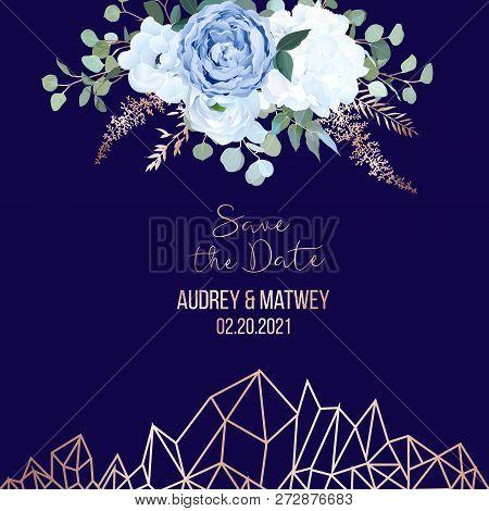 Dusty Blue Rose, White Hydrangea, Ranunculus, Anemone, Eucalyptus, Juniper, Brunia Vector Design Nav
