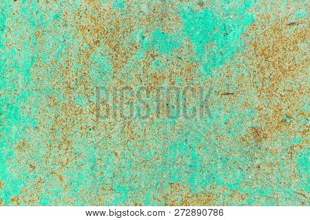 Old Corroded Metal Wall Background With Flaky Blue Green Paint .rusty Flaky Cracked Metal Surface.ab
