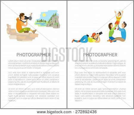 Photographer Makes Family Photo Session With Parents And Kid. Photojournalist And Reporter Sitting O