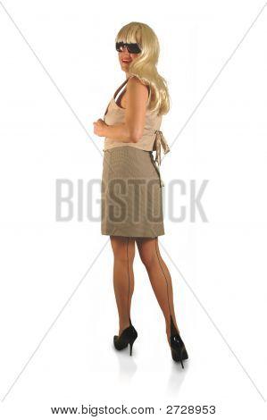 Blond In Skirt Stockings