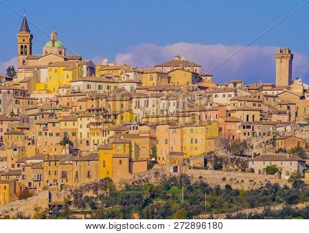 Stunning View Of Trevi Historical Center, Typical Mediaeval Village In Umbria, Italy